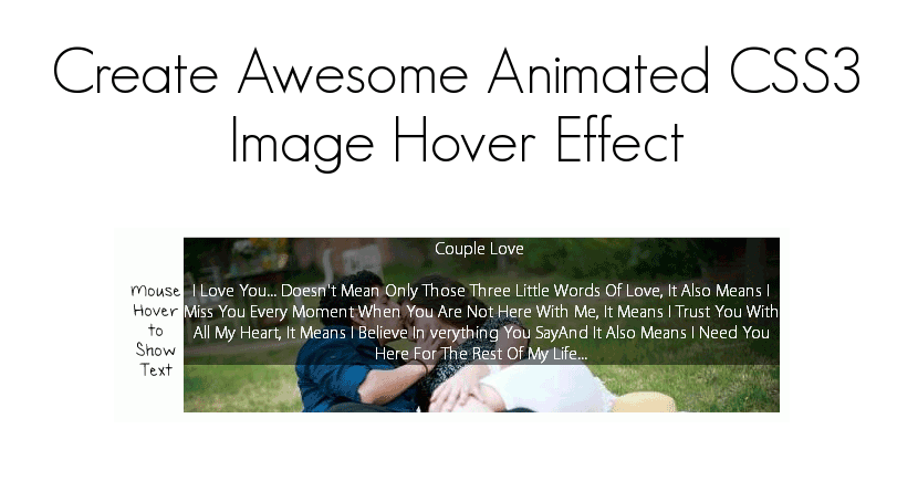 Create Animate CSS Image Hover Effect Text - SpeedySense