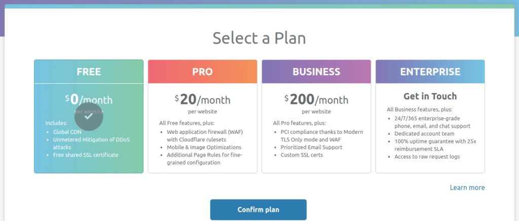 Cloudflare select plan