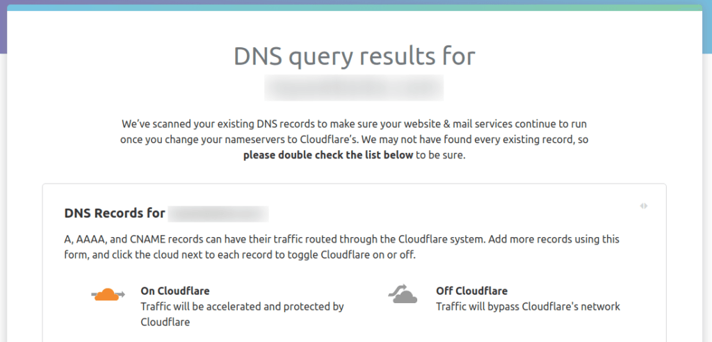 Cloudflare DNS search query result