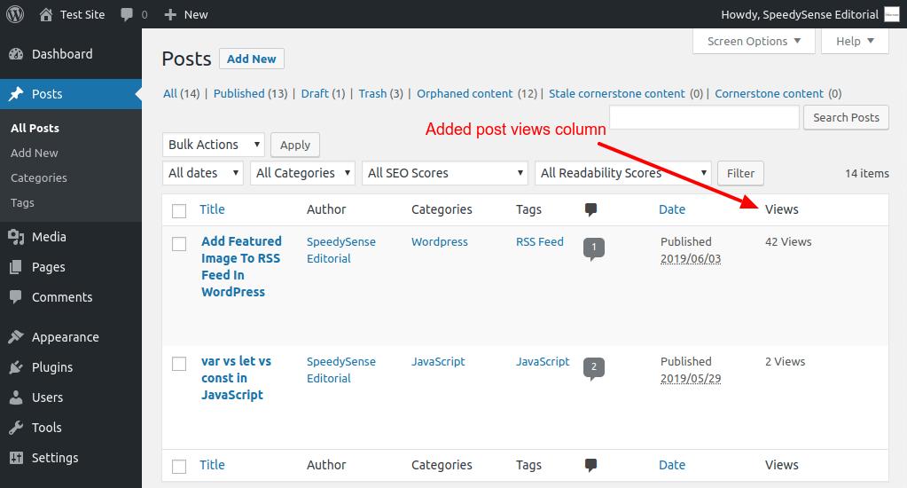 Track post views column in Admin Dashboard