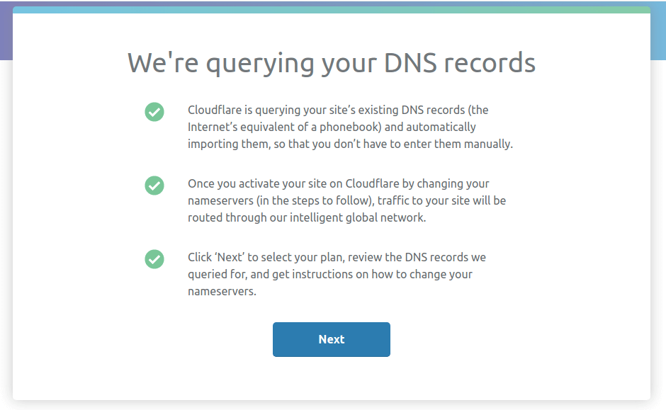 Cloudflare scan DNS record - Enable free SSL certificate