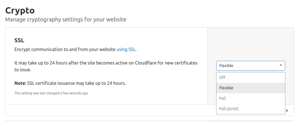 Activate flexible free SSL certificate in cloudflare