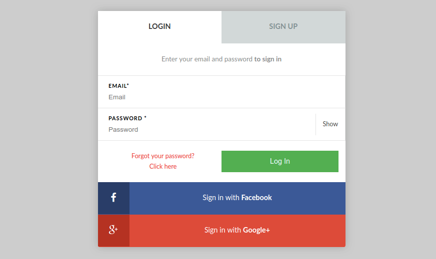 Signup and Login Forms