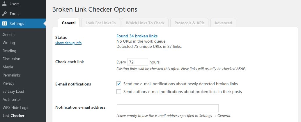 Broken Links Checker General Settings