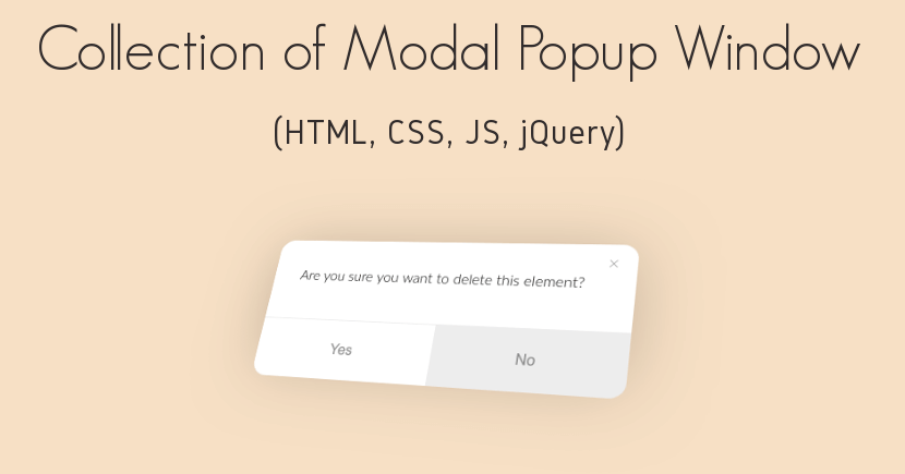 10 CSS JavaScript jQuery Modal Popup Window (2019)