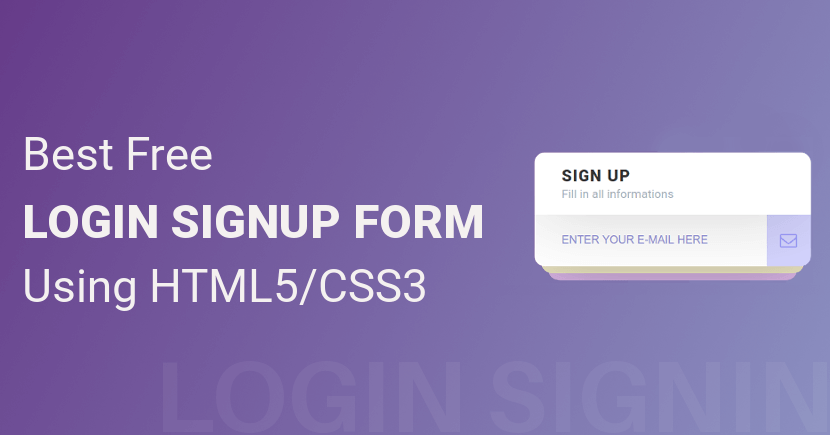 13 Best Free Login Sign Up Forms Using HTML5 CSS3 (2019)