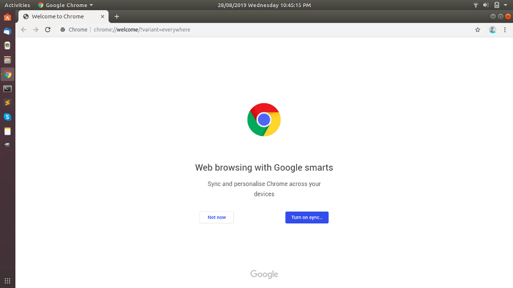 Google Chrome Welcome Page Ubuntu
