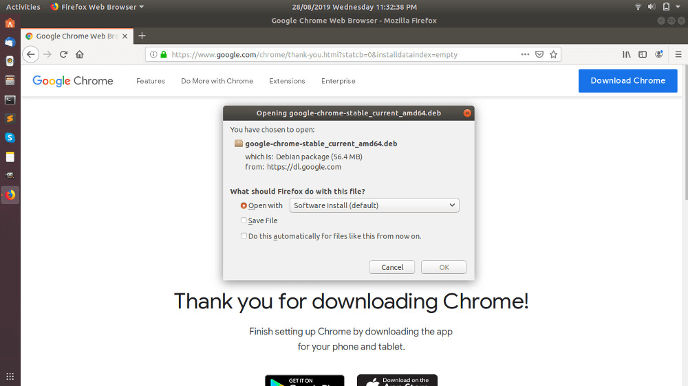 Open Ubuntu Software Center To Google Chrome