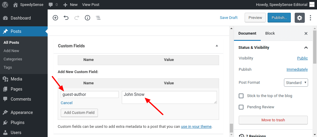 Guest Author Custom Field in Post