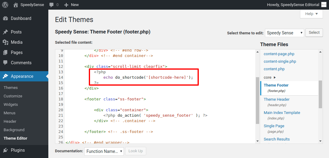 Add shortcode to Header/Footer in WordPress Website
