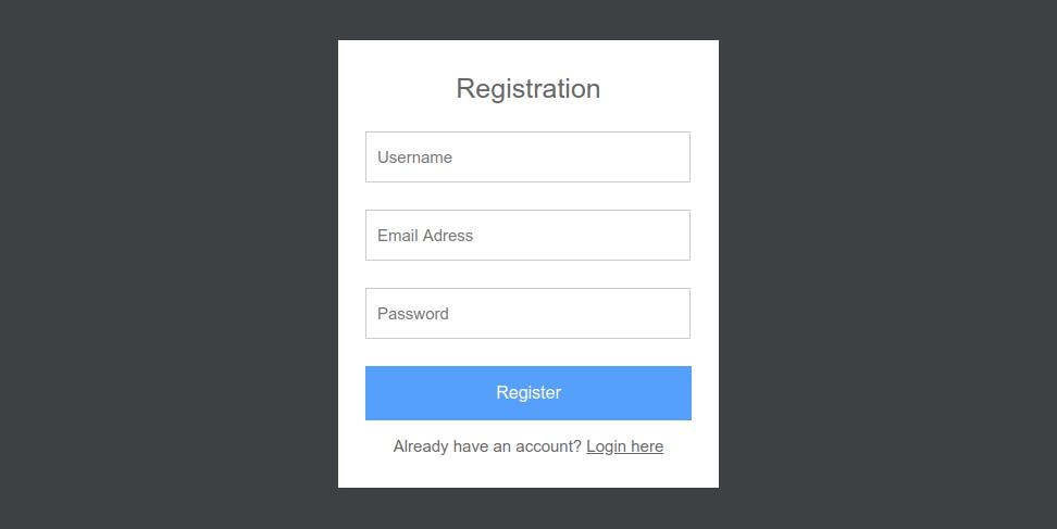 Registration form - Registration and Login System