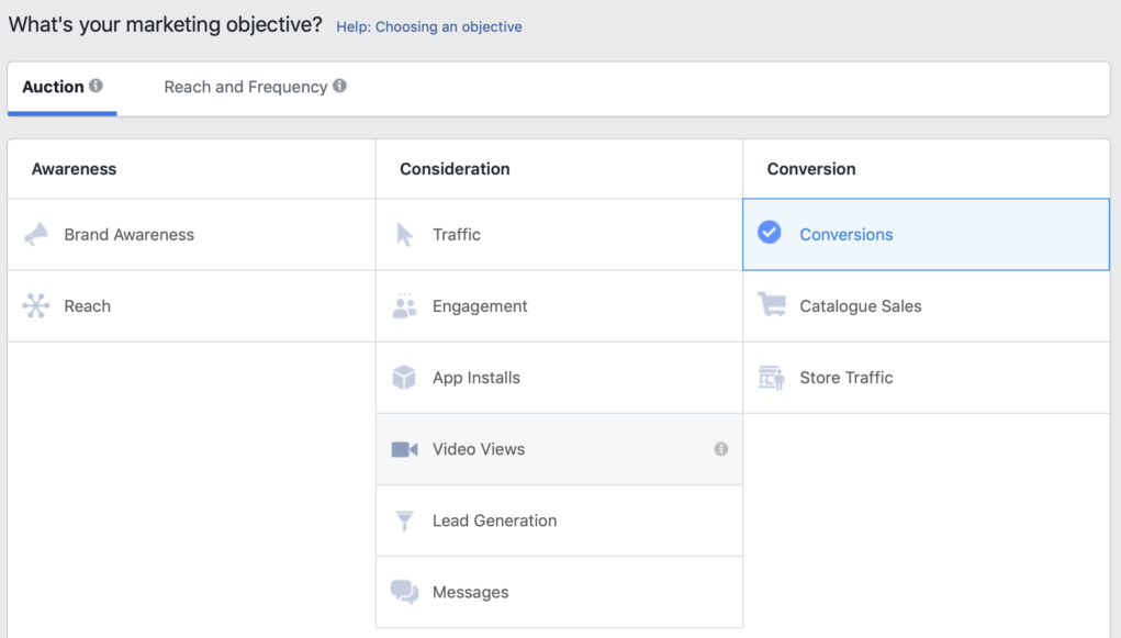 Facebook campaign objectives selection